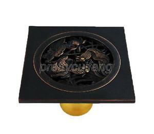 Black Oil Rubbed Brass Bathroom Floor Drain Waste Grate Shower Drainer Phr006