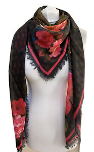 ALEXANDER MCQUEEN LARGE FLORAL ROSE PRINT MODAL SILK SQUARE SCARF