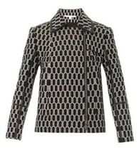 $600 DVF Diane Von Furstenburg Honeycomb Biker Jacket with Leather Trim Size 8
