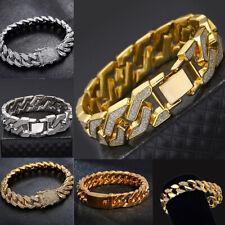 Men's Heavy Solid Alloy Curb Chain Bracelet Sand Blast Bangle Men Gift