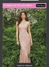 Cutaway Halter Lace Dress (Xscape By Joanna Chen) Sz 6 Nude Color