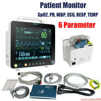 "Portable 12"" ICU 6 Parameter Vital Sign Patient Monitor ECG NIBP SPO2 PR Machine"