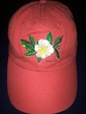 Ball Cap with Embroidered Magnolia and State of Alabama Bimini Bob's Red NEW