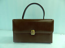 VINTAGE ADOREABLE. LITTLE BROWN PURSE / BAG / HANDBAG WITH FRONT DAISY CLASP