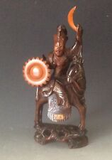 Chinese Carved Figure of a Warrior On Horseback wood Circa 1900