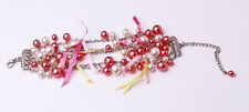 EXQUISITE MULTI-CHAIN BRACELET PINK/PEARL CHARMS FUN YELLOW/PINK RIBBONS (ZX21)
