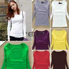 Basic Round Neck Women Long Sleeve Fitted Solid Tops Plain T-Shirt Blouse KECP