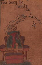 LEATHER CARD : Hand-coloured-'Too busy to write in Liuray Va'-TANNER SOUVENIR CO