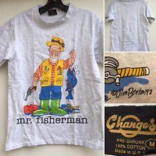 Mr Fisherman T-Shirt c Jim Benton 92 Made In USA M 90s 1990s Fishing Tee