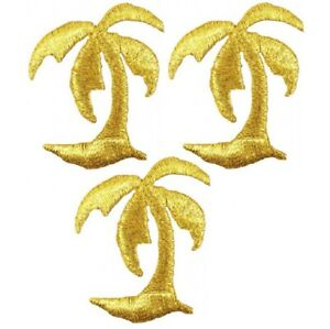 """Gold Palm Tree Applique Patch - Tropical Island Badge 1-3/8"""" (3-Pack, Iron on)"""