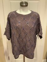 Moth Anthropologie Tan & Blue Argyle Knit Sweater, Size M/L