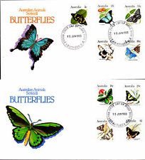 1983 Australian Animal Series III Butterflies on 2 FDC's - Mount Hawthorn PMK