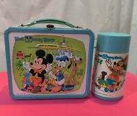 VINTAGE LUNCH BOX WALT DISNEY MICKEY MOUSE DONALD DUCK PLUTO  WITH THERMOS