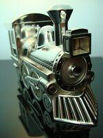 Hucha Tren Locomotora Lok Ferrocarril Plata Grabado Noble Superior Nuevo
