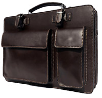 HAND MADE SERGUIO ROGETTI ITALIAN LEATHER BRIEFCASE LAPTOP SATCHEL BAG OFFICE