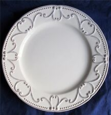 "Bordallo Pinheiro Plate 10"" Taupe Gray Scrolls With Dots On Ivory BPI47"