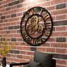 Orologio da parete in legno retrò grande e silenzioso con numeri romani per