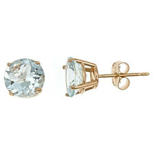 2.5 CARAT AQUAMARINE STUD EARRINGS 7mm ROUND 14KT YELLOW GOLD MARCH BIRTH STONE