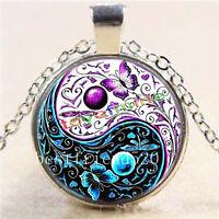 Yin-Yang-papillon-cabochon-verre-Tibet-argent-chaîne-pendentif-collier