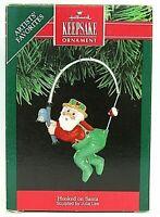 Hallmark Keepsake Ornament 1991 HOOKED ON SANTA Christmas Ornament FISHING