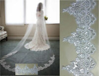 Layer 1 Cathedral Length 3M Wedding Veil Lace with Sequins Bridal Veil with Comb