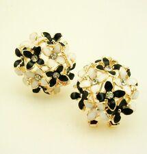 """Joan Rivers Enamel Flower Earrings 3/4""""  PIERCED Black/White"""