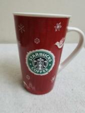 Starbucks Coffee 2008 Holiday Mug 16 oz Xmas Tree Dove Deer Snowflakes Red/White
