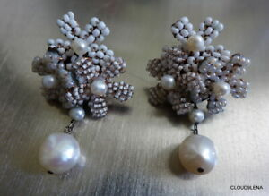 """New Astolfo Fiore Venice Italy Pearl Drop Beaded Floral Statement Earrings 1.75"""""""