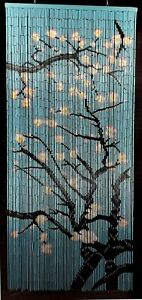 Cherry Blossom Hand Painted Bamboo Beaded Curtain - New - Free Shipping 48 State