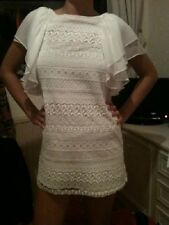 £69 NEW ZARA WHITE SILK BRODERIE CROCHET ANGLAISE LACE DRESS XS EXTRA SMALL 6 2