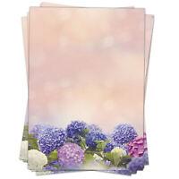 50 Blatt Briefpapier A4 Motivpapier Bastelpapier Hortensien blau rosa Blumen