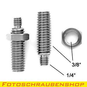 """2x Edelstahl Stiftschraube 1/4""""- 3/8"""" mit 2x 3/8""""-Mutter  (Stativadapter)"""
