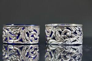Vintage Pair Antique Sterling Silver Salt Cellars Birmingham 1904 AC6
