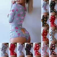 Sexy Women's Bodycon Pyjamas Long Sleeve Jumpsuit Shorts Romper Bodysuit Leotard