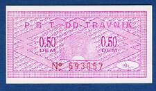 0.50 DEM (Germany Mark), Lokal note, Bosnia PBT DD TRAVNIK 1990s,  handstamp !