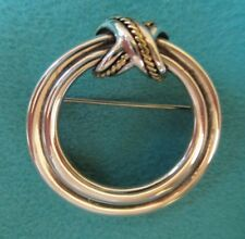 """Tiffany & Co ~ """"Signature"""" Double Circles Brooch / Pin in Sterling & Gold"""