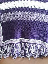 Handmade purple and white striped knitted afghan chair throw