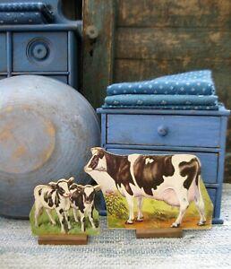 2 Antique Schoolhouse Cardboard Farm Animals Holstein Fresian Cow and Calf