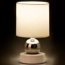Lampada da Tavolo Lume Comodino Ceramica Tessuto Bianco Design Moderno Abatjour