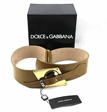 $575 DOLCE &  GABBANA Dritta Vernice Brown Tan Patent Leather Wide Buckle Belt