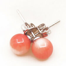 6mm Round Natural Pink Coral Ball Stud Earring Gemstone Jewelry 1 Pair