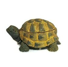 "Turtle Trinket Box Resin Green Yellow Tortoise Shell Lid 4.5""L x 2.25""H x 2.5""W"