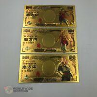 Lot 3 x Billet de 10000 Yen Dragon Ball Z DBZ Gold / Carte Card Carddass / Broly