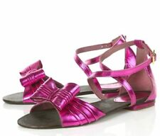 TOPSHOP PINK METALLIC GENUINE LEATHER FLAT SANDALS SHOES WITH BOW NEW
