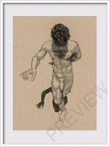 ORIGINAL NUDE MALE  SKETCH  FIGURE 6x8 MIXED MEDIA DRAWING