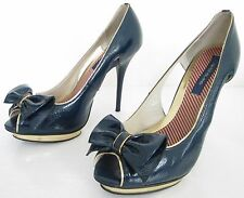 RIVER ISLAND SIZE 6 39 WOMENS BLUE GOLD PEEPTOES SLIP ON COURT SHOES HEELS BOWS