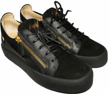 Giuzeppe Zanotti Low Top Gold Double Zip Loafer Black Suede Sneakers Shoes 40