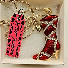 Strapped Enamel Rhinestone Boots Pendant Betsy Johnson Gold Tone Red Hot