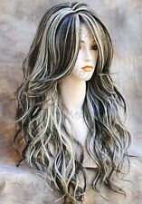 Long Loose wavy HEAT SAFE Human hair Blend WIG Brown Blonde mix wnta 6-613