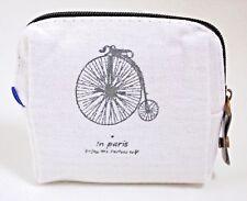 Monedero mujer blanco con bici nuevo cuadrado con cremallera algodon forrado